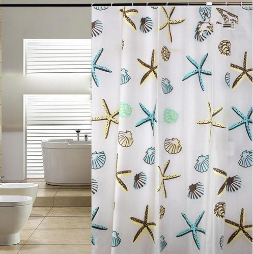 Blu-Pier Decorative PEVA Mildew Free Water Repellant Shower Curtain 72x72 Comes With 12 Hooks (Starfish and Sea Shells) - Shower Curtain With Seashells