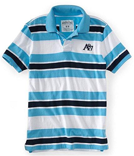 Aeropostale Mens A87 Stripe Rugby Polo Shirt Blue ()