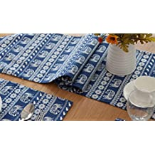 Multi-Size Double-Sided Cartoon Elephant Printing Blue Table Runner LivebyCare Cotton Linen Fabric Decoration For Dinner Table