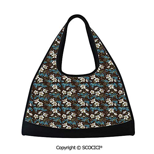Short distance travel bag,Daffodils Cornflowers Pattern Nature Inspired Floral Bouquet Design,Easy to Carry(18.5x6.7x20 in) Brown Blue Green