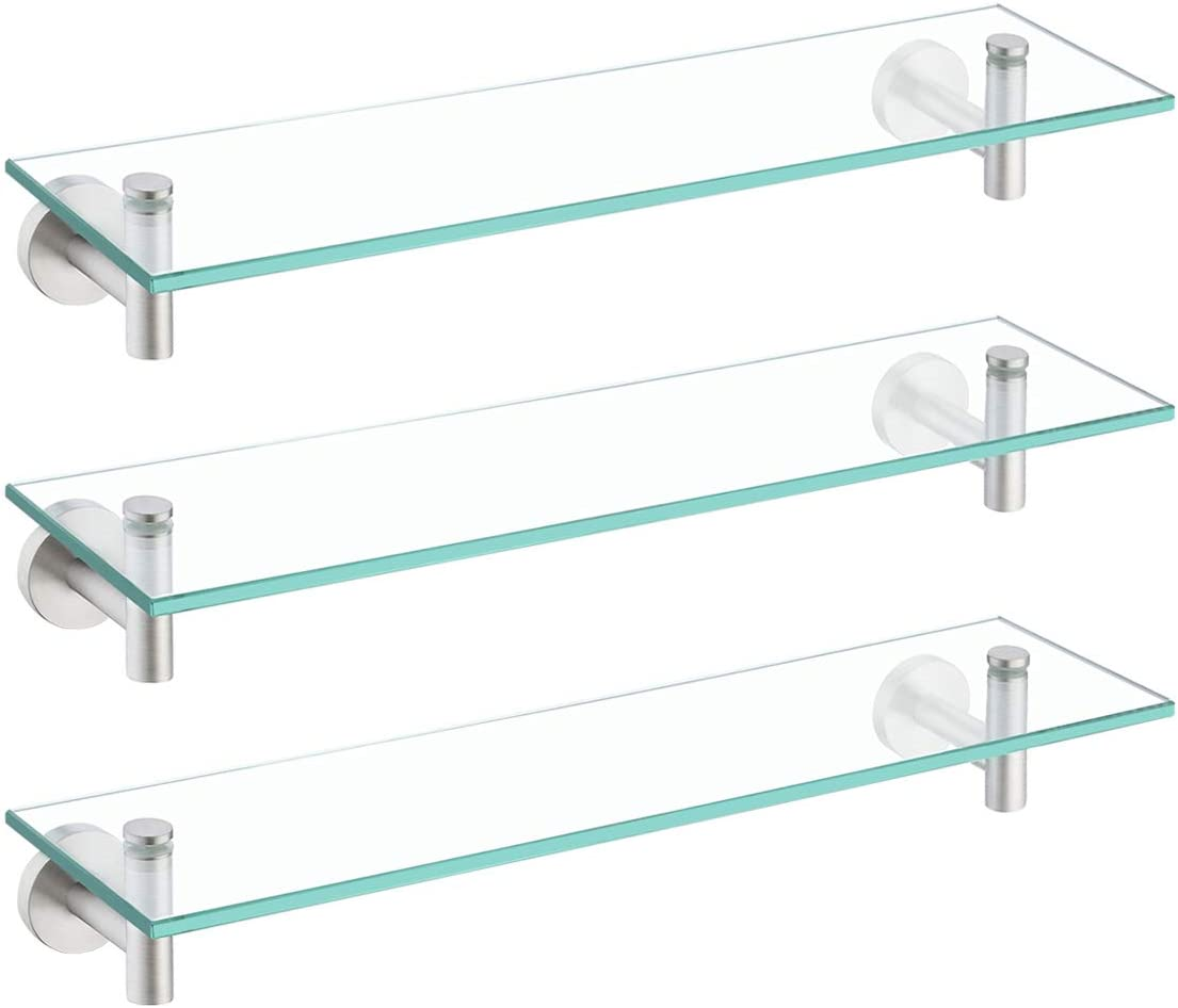 KES Glass Shelf for Bathroom Rectangular 20-Inch Floating Shelves 3 Pack with Rustproof Stainless Steel Brackets Wall Mounted Brushed Finish, A2021-2-P3