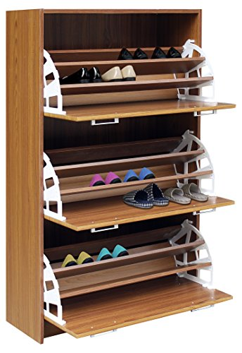 4D Concepts Deluxe Triple Shoe Cabinet, Oak - 4d Concepts Furniture