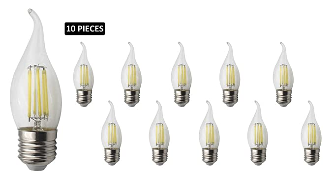 JCKing 10-Pack AC 220V E27 6W Filamento LED Bombilla de luz con punta de