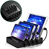 IMLEZON 4 Ports Charging Station for Multiple Devices 5V/40W USB Charging Station for Apple and Android Devices (Black, Including Short Cables 2 for Apple and 2 for Android)