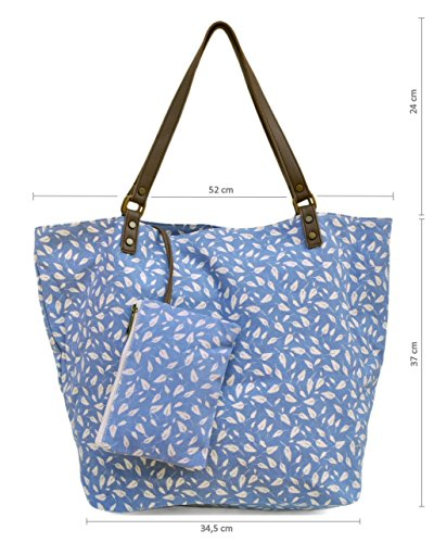 in da bleu Anoushka cotone Borsa donna Plumes Taille Unique Cotton qRCUw