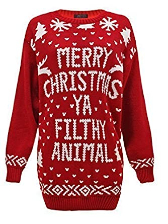 d5e20d3f00ec8 ENVY BOUTIQUE WOMENS LADIES MENS KNIT XMAS CHRISTMAS JUMPER SANTA REINDEER SWEATER  PLUS SIZES CHRISTMAS RED 20-22  Amazon.co.uk  Clothing