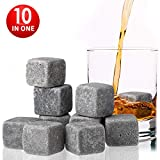 RC Set of 10 Grey Chilling Stones/Rocks for Whiskey, Beer and Liquor - Made of 100% Pure Soapstone