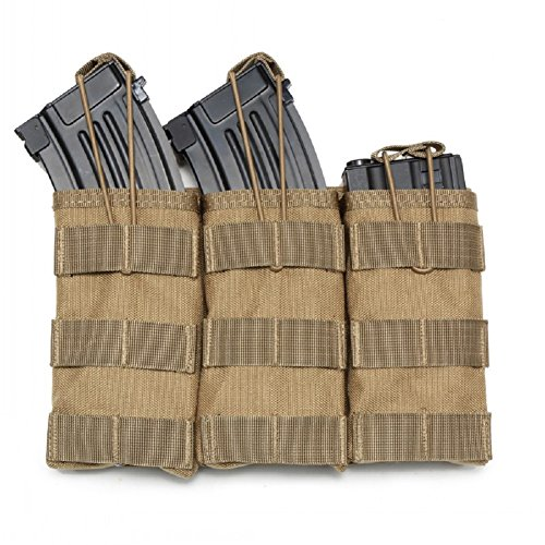 (XBHO Tactical Molle Triple M4/M16 Open Top Mag Pouch (khaki))