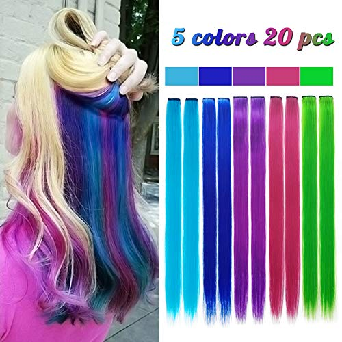 20 Pieces Party Highlights Clip in Colored Hair Extensions Colorful Hair Extensions 20 inches Straight Synthetic Hairpieces(Blue,Dark blue,Grass green,Purple,Rose red) ()