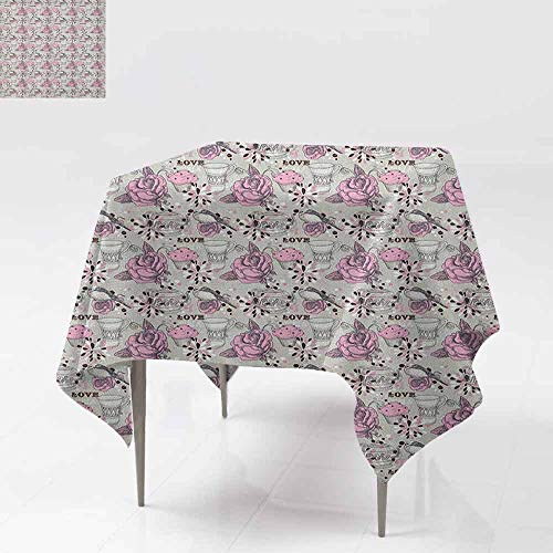 - AndyTours Square Table Cloth,Tea Party,Ornate Teacup and Pot with Romantic Roses Birds Valentines Day Themed Image,Party Decorations Table Cover Cloth,36x36 Inch Pale Pink Dust