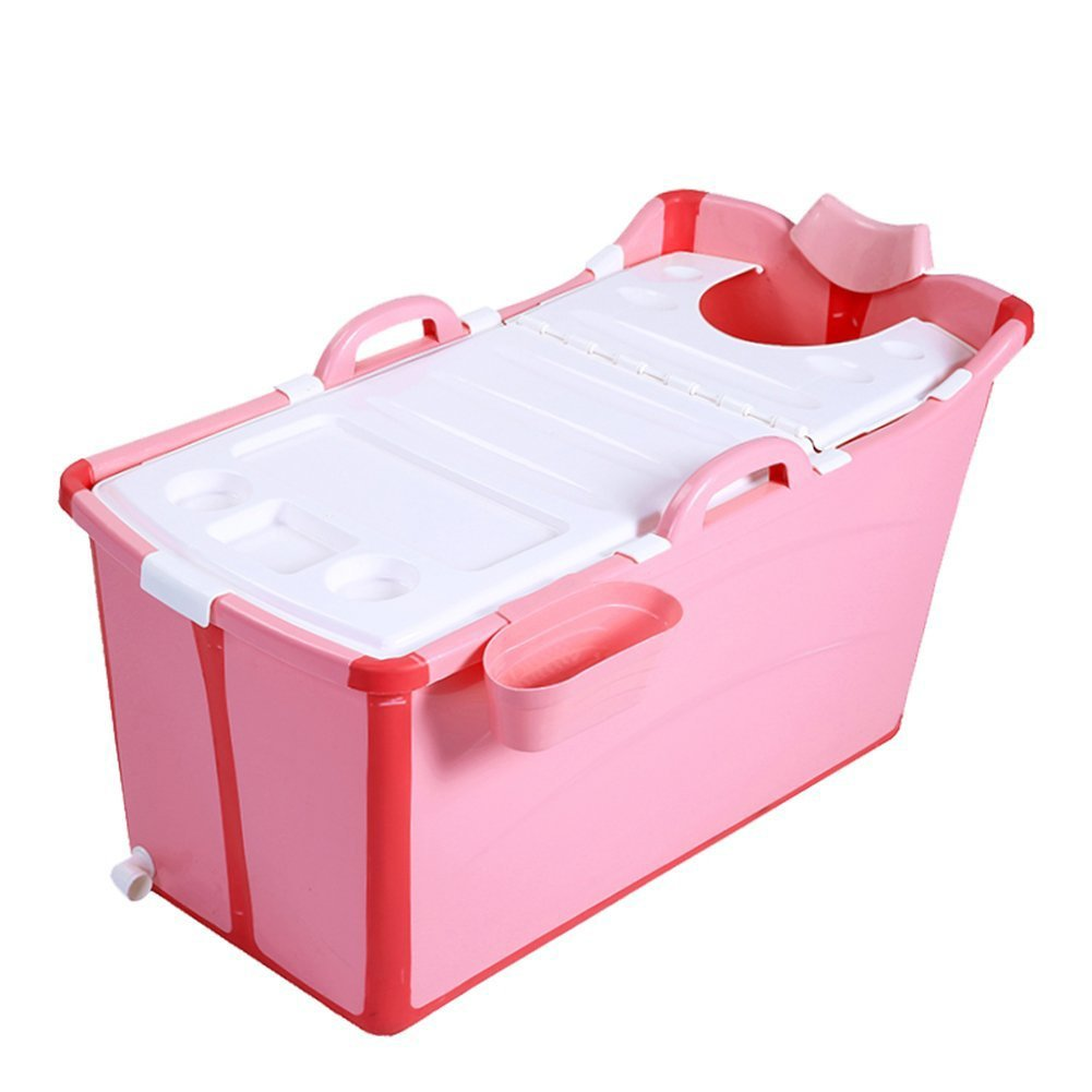 Folding Bathtub Portable Bathtub Inflatable Bathtub Swimming Pool Plastic Covered Bathtub (Color : Pink)