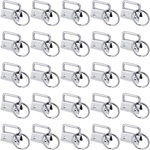 SATINIOR 40 Pieces Key Fob Hardware Key Chain Fob Wristlet Hardware with Key Ring for Lanyard (1 Inch)