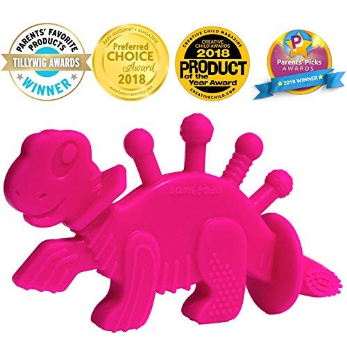 Baby Teether Toy Extraordinaire: Dibly – The Dino-Sore-No-More Baby Teething Toy by Bambeado. Our BPA Free Teethers Help take The Stress Out of Teething, from Newborn Baby Through to Infant.