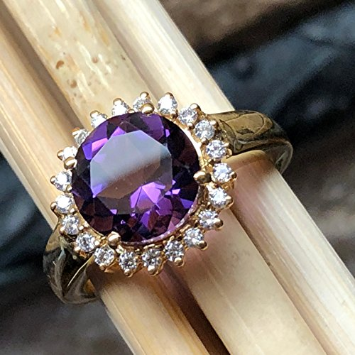 - Estate Natural 2.75ct Purple Amethyst, white Sapphire 14K Yellow Gold over Sterling Silver designer Ring sz 8.75