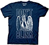 Doctor Who Don't Blink Weeping Angel Covering Face Men's Navy Blue T-shirt (Large)
