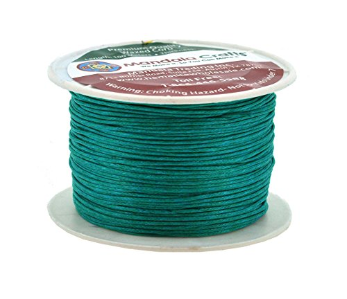 Mandala Crafts 1mm 109 Yards Jewelry Making Beading Crafting Macramé Waxed Cotton Cord Thread (Teal)