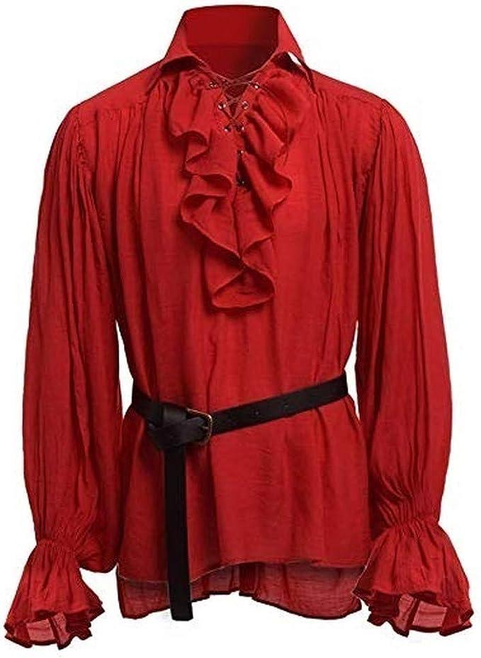ACEBABY Camisa Medieval Hombre Camisa Retro de Manga Larga Estilo étnico Traje de Rendimiento Apto para Fiestas Enviar Cinturón: Amazon.es: Ropa y accesorios