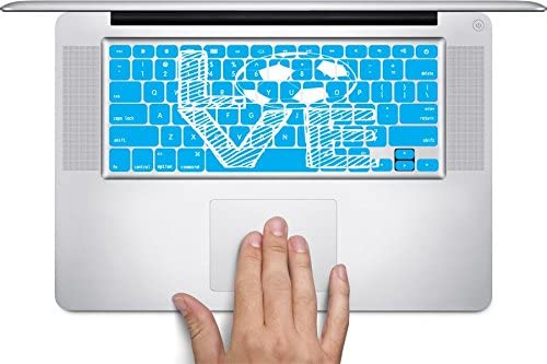 Love Soccer Stacked Blue with White Letters Keyboard Decals by Moonlight Printing for 12 inch MacBook