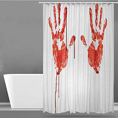 ONECUTE Travel Shower Curtain,Horror Handprint Like Wanting Help Halloween Horror Scary Spooky Flowing Blood Themed Print,Shower Curtain bar,W55x86L Red -