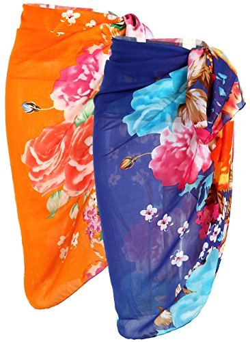 Ayliss Womens Swimwear Chiffon Cover up Beach Sarong Pareo Bikini Swimsuit Wrap (One Size, Mixed 2 Colors-#19 and #20)