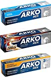 Arko Shaving Cream Variety Pack, Extra Performance/Maximum Comfort/Cool, 3 Count