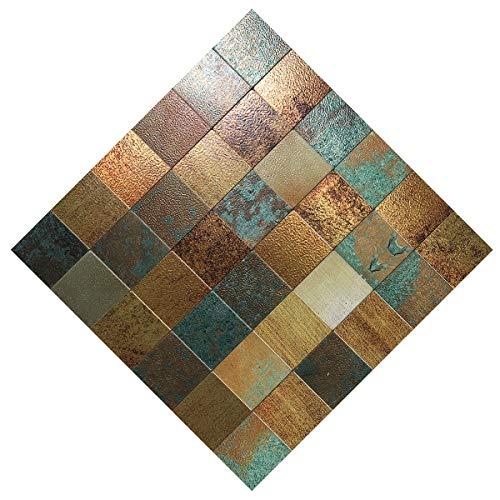 "HomeyMosaic Peel and Stick Tile Backsplash for Kitchen Wall Decor Aluminum Surface Metal Mosaic Tiles Sticker,Square Plaid Imitation Rust Classical Retro Bronze,12""x12"" x 5 Tiles"