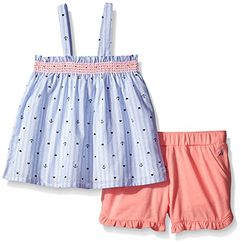 Trim Contrast Short (Nautica Little Girls' Woven Ministripe Top with Contrast Ruffle Trim Short Set, Soft Coral, 6)