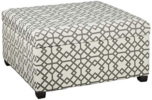 (Christopher Knight Home 299569 Living Estee Grey Geometric Patterned Fabric Storage Ottoman,)