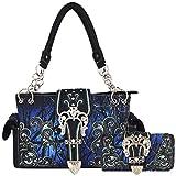 Camouflage Crown Buckle Western Style Concealed Carry Purse Country Handbag Women Shoulder Bag Wallet Set (Blue)