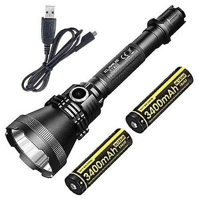 Combo: KLARUS XT32 1,200 Lumens Flashlight CREE XP-L HI V3 LED -Beam Distance of 1000 meters w/2x Nitecore NL1834R & Free USB Cable