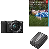 Sony a5100 16-50mm Mirrorless Digital Camera with 3-Inch Flip Up LCD (Black) & Adobe Photoshop Elements 2018 & Sony NP-FW50 Lithium-Ion 1020mAh Rechargeable Battery
