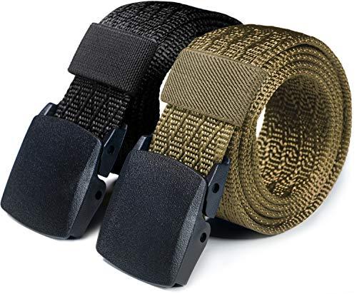 CQR Tactical Belt (Pack of 2) Tactical Belt Assurance Nylon Webbing EDC Duty 1.5 Inches Belt,Full Cover 2pack(mzt22) - Black & Khaki, M(w32-34)
