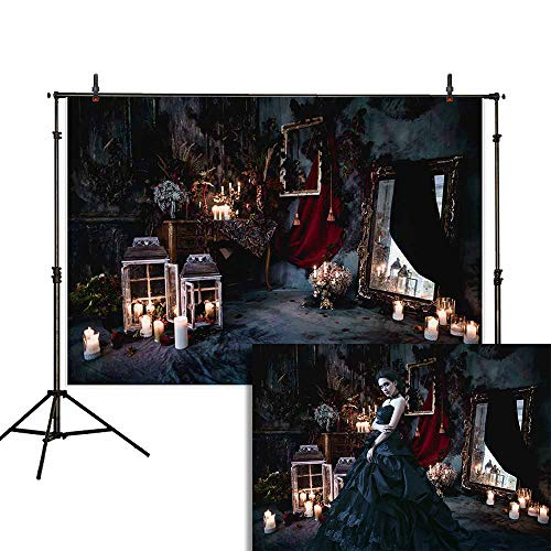 Allenjoy 7x5ft Halloween Vampire Photography Backdrop Luxurious Royal Dark Room Dried Flowers Chandeliers Golden Frame Candle Background Photo Studio Booth Party Decorations Banner