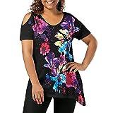 Top Blouse Womens Plus Size Short Sleeve Cold Shoulder Floral Print T-Shirt Tops Black