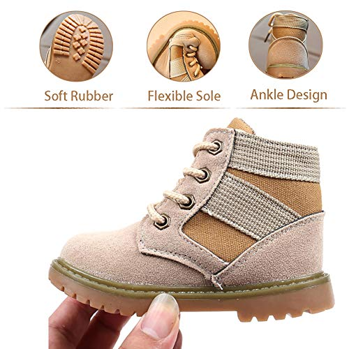 Sawimlgy Boys Girls Lace Up Booties Winter Matin Boots Casual Sport Hiking Shoes (Toddler/Little Kid)