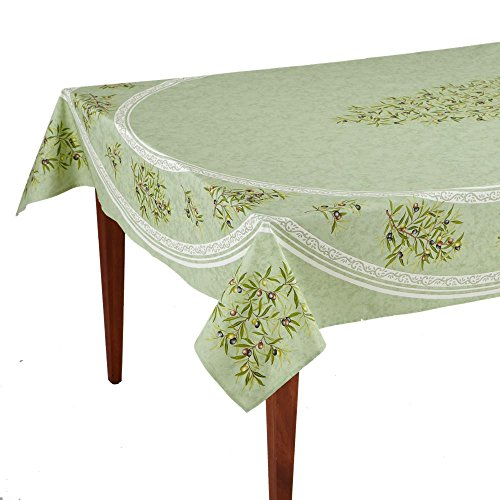 Clos des Oliviers Amande Rectangular French Tablecloth, Coated Cotton, 63 x 98 (6-8 people) (Light 8 Provincial)