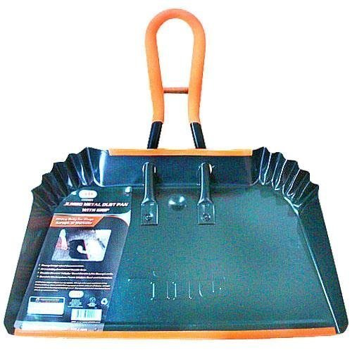 Jumbo Metal Dust Pan with Grip - 17 inch Size