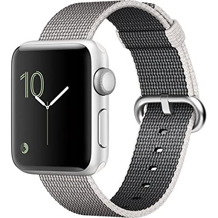 Apple Watch Series 2 Smartwatch 38mm Silver Aluminum Case Pearl Woven Nylon Band (Renewed)