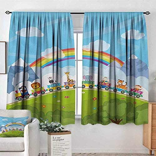 """Nursery Thermal Insulating Blackout Curtain Cartoon Railway Train with Various Animals and a Rainbow Mountains Clouds Trees Kid Blackout Curtains 55"""" W x 39"""" L Multicolor"""