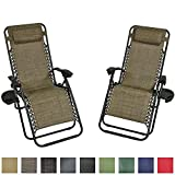 Sunnydaze Brown Outdoor Zero Gravity Lounge Chair with Pillow and Cup Holder, Set of Two For Sale
