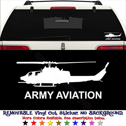 Military US Army Aviation AH-1 Cobra Helicoter REMOVABLE Vinyl Decal Sticker For Laptop Tablet Helmet Windows Wall Decor Car Truck Motorcycle - Size (5 Inch / 13 Cm Wide) - Color (Matte White)