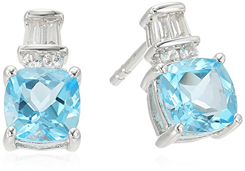 Blue Topaz Lab (Sterling Silver Cushion Shape Swiss Blue Topaz and Lab Created White Sapphire Post and Nut Earrings)