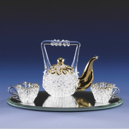 Gallery Glass Miniature Spun Glass Tea Pot Set Lacework Spun Crystal 22K Gold Sparkles