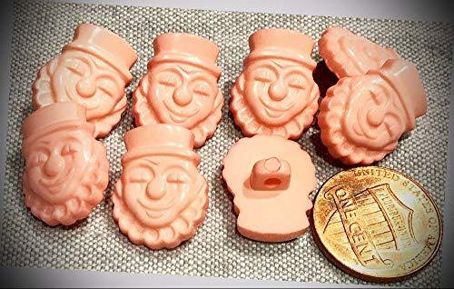 JumpingLight 8 Shiny Pink Clown Face Plastic Shank Novelty Buttons 11/16