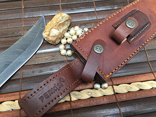 Perkin | 12 Inch Razor Sharp Fixed Blade Damascus Steel Bowie Knife | Full Tang Blade W/A High Grade Leather Sheath| Designed for Hunting, Survival, Skinning, Camping & Self Defense | by Perkin (Image #8)