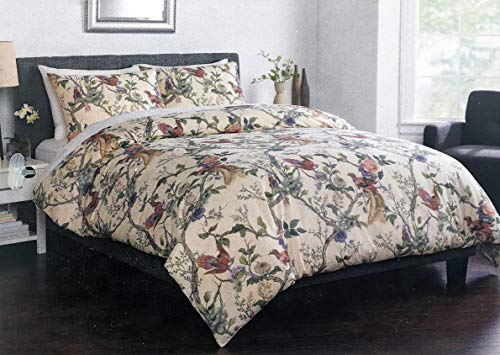 Well Dressed Home 3pc Luxury Linen/Cotton Blend Duvet Set Exotic Floral Pattern Tree Branches Birds Thread on Cream/Off-White Comforter Quilt Cover ()