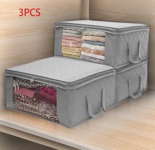 lightning moments Storage Bags with Double Zippers, Large Clear Window & Portable Handles, Great for Clothes, Blankets, Closets, Bedrooms, and students house cleaning(3-P)