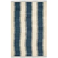 Safavieh Navajo Kilim Collection NVK213A Hand Woven Blue and Ivory Wool Area Rug (3 x 5)