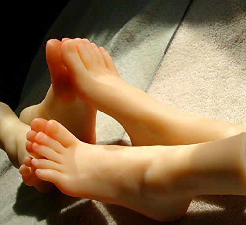 Huanjing 1 Paar Silikon in Lebensgröße Mädchen Mannequin Fuß Display Kristallhalskette Strasssteinherzen Sandale Schuh Socke Display Art Sketch, EU37