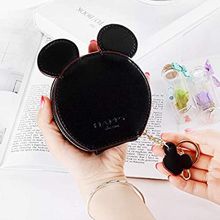 Sonita3008 Leather Coin Purse PU Leather Cute Mouse Big Ears Coin Purses Womens Kawaii Zipper Change Purse Wallet Girls Cartoon Key Small Pouch Bags